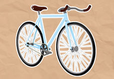 Fixed gear bicycle. Illustration of a fixie on a old paper Stock Photo