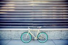 Fixed gear bike. Yellow, blue royalty free stock photo