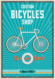 Fixed gear bike poster design. Royalty Free Stock Photo