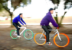 Fixed Gear Cyclists. Two cyclists racing their fixed gear bicycles stock photo