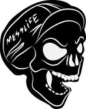 Skull. Fixed gear riders and bike couriers honor badge. Mess-life can be dangerous, RESPECT vector illustration