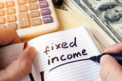 Free Fixed Income Written In A Note. Royalty Free Stock Photos - 107488488