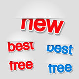 Fixed labels - new, best, free Royalty Free Stock Images