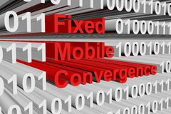 Fixed mobile convergence. In the form of binary code, 3D illustration Royalty Free Stock Photography