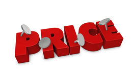 Fixed price. One 3d render of the word price fixed with four pins Stock Photo