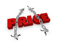Fixed price. One 3d render of the word price fixed with two chains Royalty Free Stock Photography