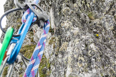 Fixed rappel stance. Prepared in the mountains seen during abseil Royalty Free Stock Images