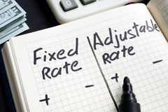 Free Fixed Rate Vs Adjustable Rate Mortgage Pros And Cons Stock Images - 140950724