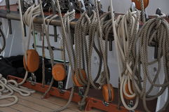 Fixed ropes on sail boat Stock Image