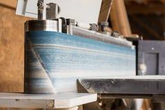 Fixed vertical electric belt sander of carpenter Stock Photos