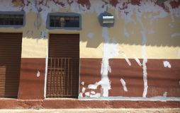 Fixed wall. The image shows a wall after some fixed cracks. The building is located in a small town in the Soulth of Minas Gerais state, Brazil royalty free stock images