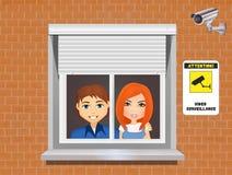 Fixez à la maison avec le système de surveillance visuel Photos stock