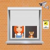 Fixez à la maison avec le système de surveillance visuel Image libre de droits