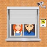 Fixez à la maison avec le système de surveillance visuel Image stock