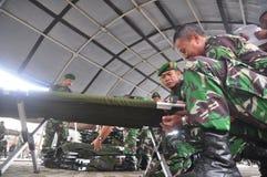 Fixez l'arrivée commune de membre de Gafatar de personnel au port d'Emas Semarang de Tanjung Photo libre de droits