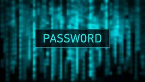 Fixez le mot de passe Attaque de Cyber Matrice verte de fond de Digital Code machine binaire Illustration de vecteur illustration stock