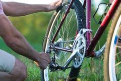 Fixing a Bike - Horizontal Stock Photography
