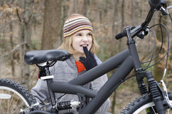 Fixing Bike Royalty Free Stock Images