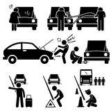 Fixing a Car Breakdown Broke Down Repair at Roadside Clipart. Set of human pictogram representing car breakdown situation where a woman is clueless on what is Stock Photos