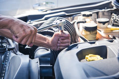 Fixing a car. Check the condition of the car Stock Photo