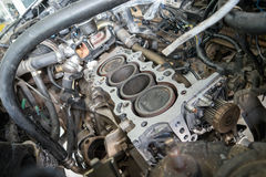 Fixing car engine using local method in Thailand Royalty Free Stock Images