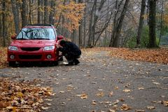 Fixing the car in forest Royalty Free Stock Images