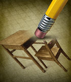 Fixing Education. And school crisis concept with an image of a vintage student desk being erased by a pencil eraser as a concept of the stress and anxiety of Royalty Free Stock Images