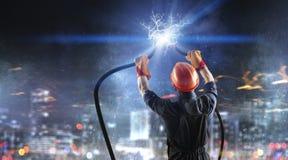 Fixing Electricity Cut Stock Photos