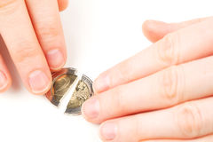 Fixing Euro crisis - hands and money Stock Photos