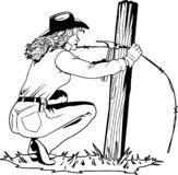 Fixing Fence Illustration. A vector illustration of a woman fixing a fence stock illustration