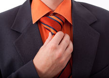 Fixing his tie Stock Image
