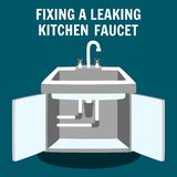 Fixing Leaking Kitchen Faucet Vector Banner. Fixing Leaking Kitchen Faucet Banner. Professional Plumbing Service Concept. Drain Repair Pipeline Change Dripping stock illustration