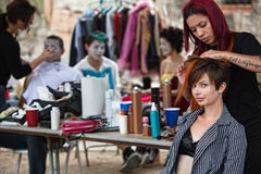 Fixing Performers' Hairdo Stock Photography