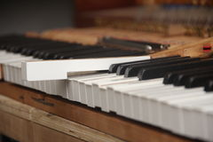 Fixing Piano. Piano key being working on and out of position Royalty Free Stock Photos