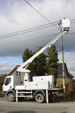 Fixing power line Stock Image