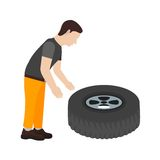 Fixing Punctured Tyre Stock Photos
