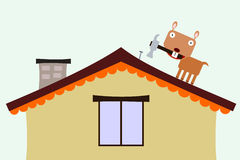 Fixing the roof. An illustration of a gopher fixing a roof Royalty Free Stock Images