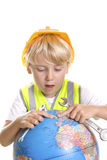 Boy fixing the World Stock Photo
