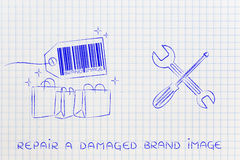 Fixing your brand image, products with wrench & screwdriver Royalty Free Stock Photography