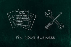 Fixing your business plan, docs with wrench & screwdriver Royalty Free Stock Photos