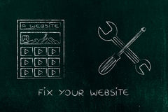 Fixing your digital content, website with wrench & screwdriver Stock Photography