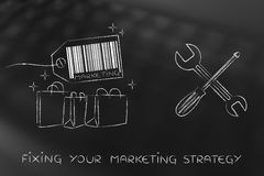 Fixing your marketing strategy, products with wrench & screwdriv Stock Photography