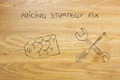 Fixing your pricing strategy, price tag with wrench & screwdrive Stock Photo