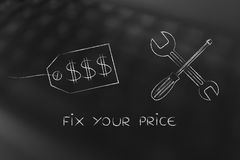 Fixing your pricing strategy, price tag with wrench & screwdrive Stock Image