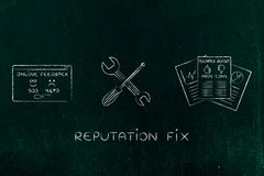 Fixing your reputation, survey docs with wrench & screwdriver Royalty Free Stock Photography