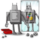 Fixing yourself to clear weakness and gain superio. A robot is fixing yourself to clear weakness and gain superioity. The concept is about self awareness and Royalty Free Stock Image