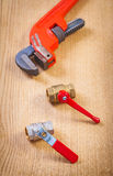 Fixtures and monkey wrench Royalty Free Stock Photos