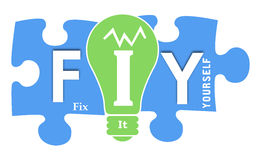 FIY - Fix It Yourself Colorful Shapes Royalty Free Stock Image