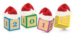 2015 fizeram dos blocos do brinquedo com chapéus do Natal Fotografia de Stock Royalty Free