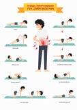 Fizyczna terapia ćwiczy dla niskiego bólu pleców infographic ilustracji
